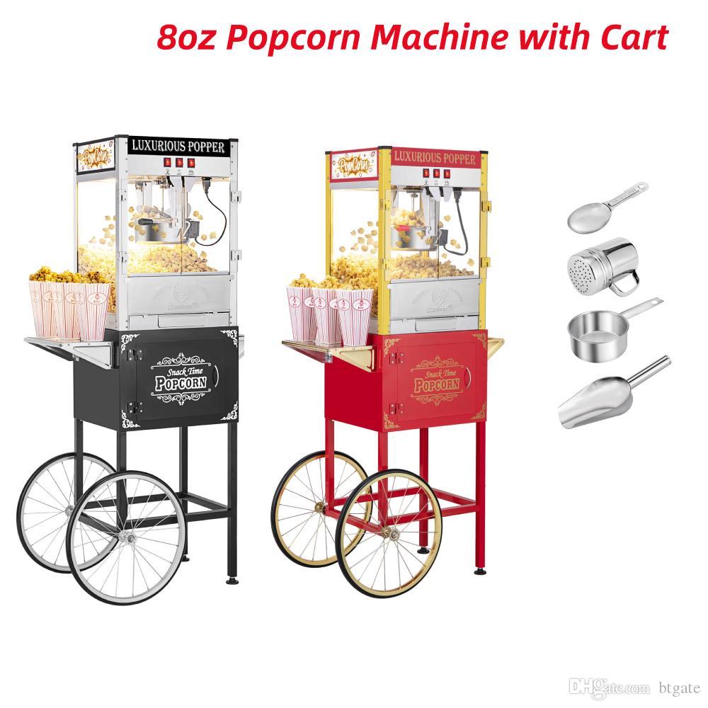 Винтажный стиль 850W профессиональный электрический попкорн Maker Popper машина с корзиной и 8 унций чайник черный красный