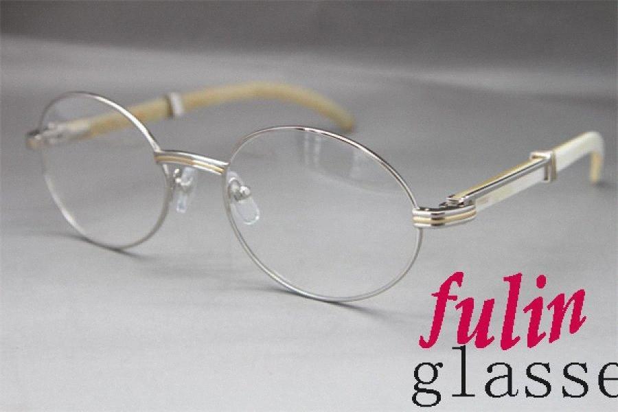 Toptan-Fabrika doğrudan satış 7550178 White Buffalo boynuz Gözlükler popüler lasses Boyutu: 55-22-135 mm s6Ve #