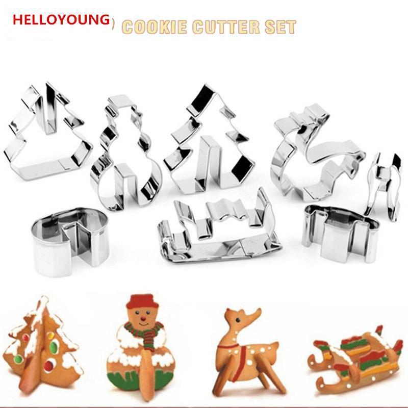 عالية الجودة DIY 3D الفولاذ المقاوم للصدأ عيد السيناريو قطع الكعكة مجموعة، الخبز العفن، وتشمل ثلج، شجرة عيد الميلاد والغزلان وزلاجات