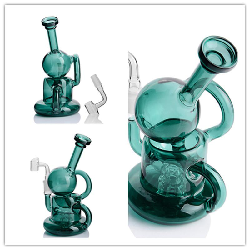 Gark Green Buoy Base Bong Downstem Glass with Perc Thick Glass Bongs Round Bottom Glass Bong with 14 mm joint