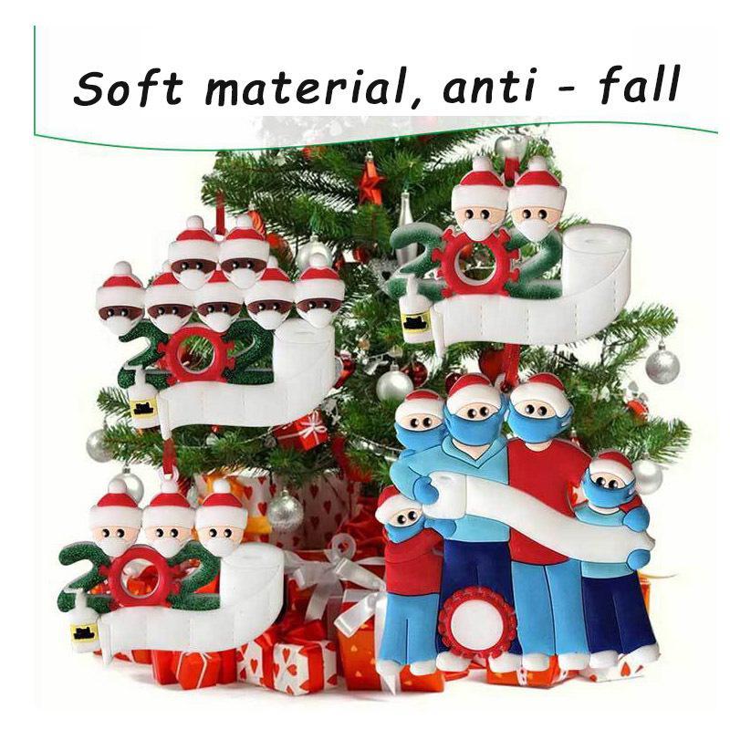 precio de fábrica 2020 sobrevivientes de la familia máscaras de resina DIY muñeco de nieve del árbol de navidad colgantes entrega rápida