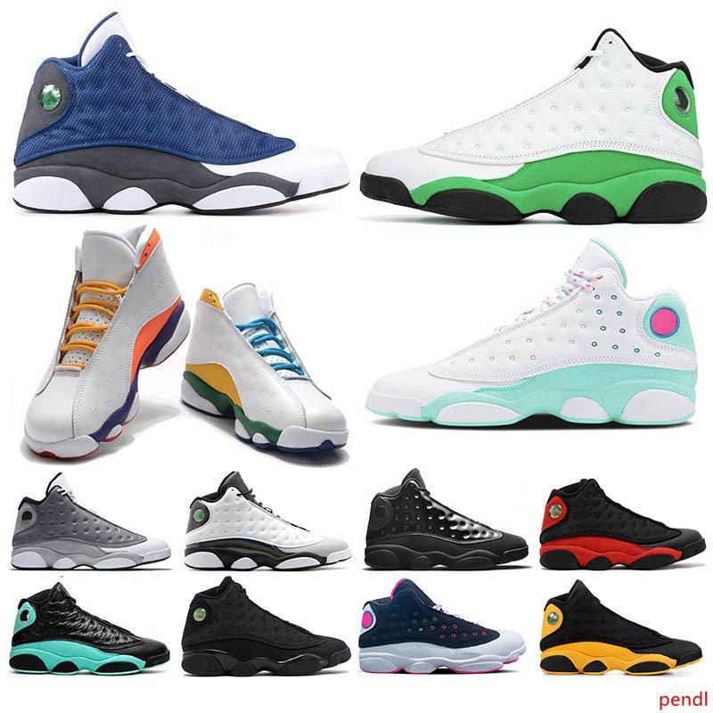 13 13s hombres mujeres zapatos de baloncesto Flint Aurora verdes Zona de juegos de suerte Bred GS Barons holograma Negro Una mala jugada gato Deportes zapatillas de deporte