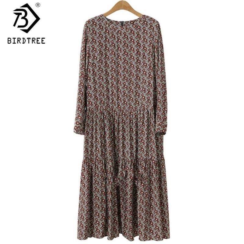 Плюс размер 4XL O-образным вырезом женщин Печать цветов рубашки платья осень моды Vintage Длинные рукава хорошее качество женское платье D7N705A 200928