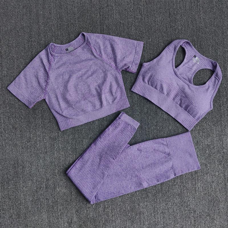 3шт бесшовные женские спортивные одежды йога набор тренировки тренировочный тренажерный зал одежда фитнес с короткими рукавами урожая высокая высокая талия леггинсы спортивные костюмы