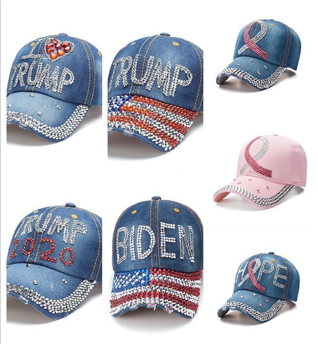 Fita biden 2020 Donald Trump Hat 7 estilos Denim Diamante presidente bonés de beisebol Chapéus ajustável Snapback Mulheres Cap Sports Outdoor
