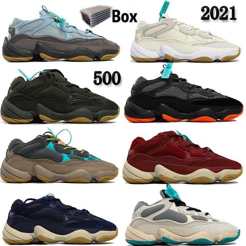 Rata de desierto 500 Negro de luz azul del sol Crema Sal Blush Piedra Kanye West Sport zapatillas de deporte Mujer Hombre 500s Formadores Tamaño 36-46 con la caja
