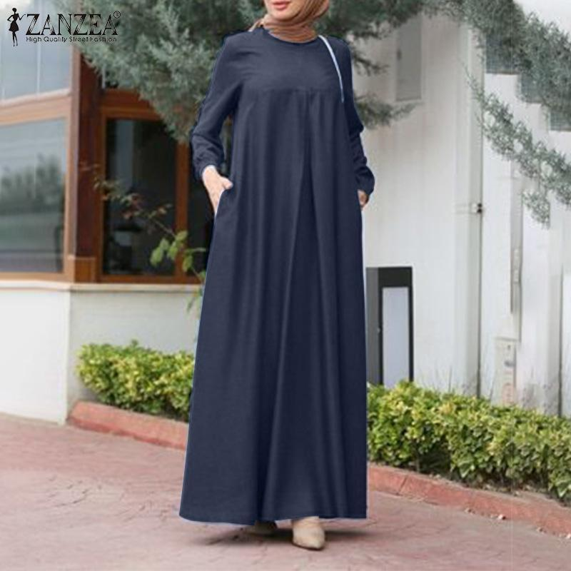 Zanzea Vintagewomen Sonbahar Sundress Rahat Uzun Kollu Müslüman Elbise İslam Giyim Robe Kaftan Dubai Abaya Türkiye Başörtüsü Elbise