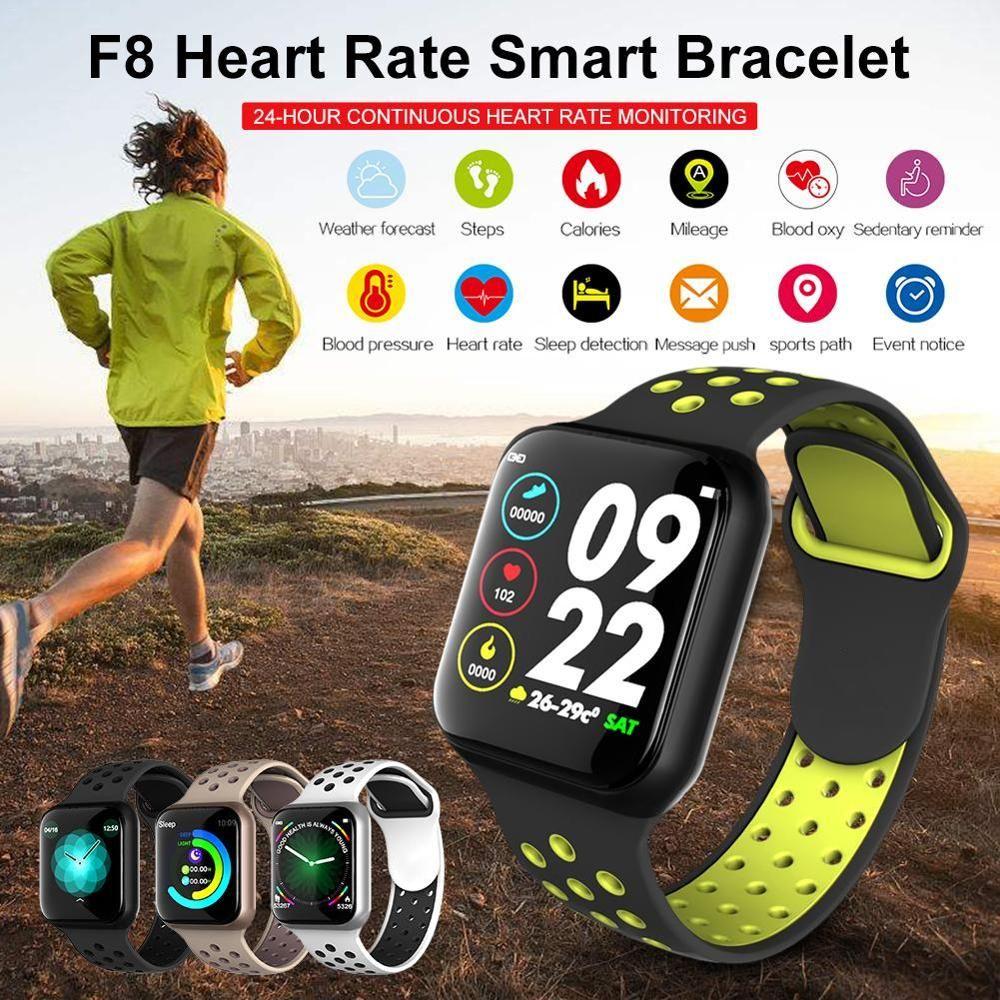 Neueste Smart Watch F8 Herzfrequenzmonitor Wasserdichte IP67 Fitness Tracker Smartwatch Sleep Monitor für iOS Android