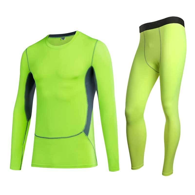 Men Gym Suit Fitness Compression Running Hiking Skiing Tight Sets Male Quick Dry Workout Exercise Sport Pant+shirt Tracksuit 029