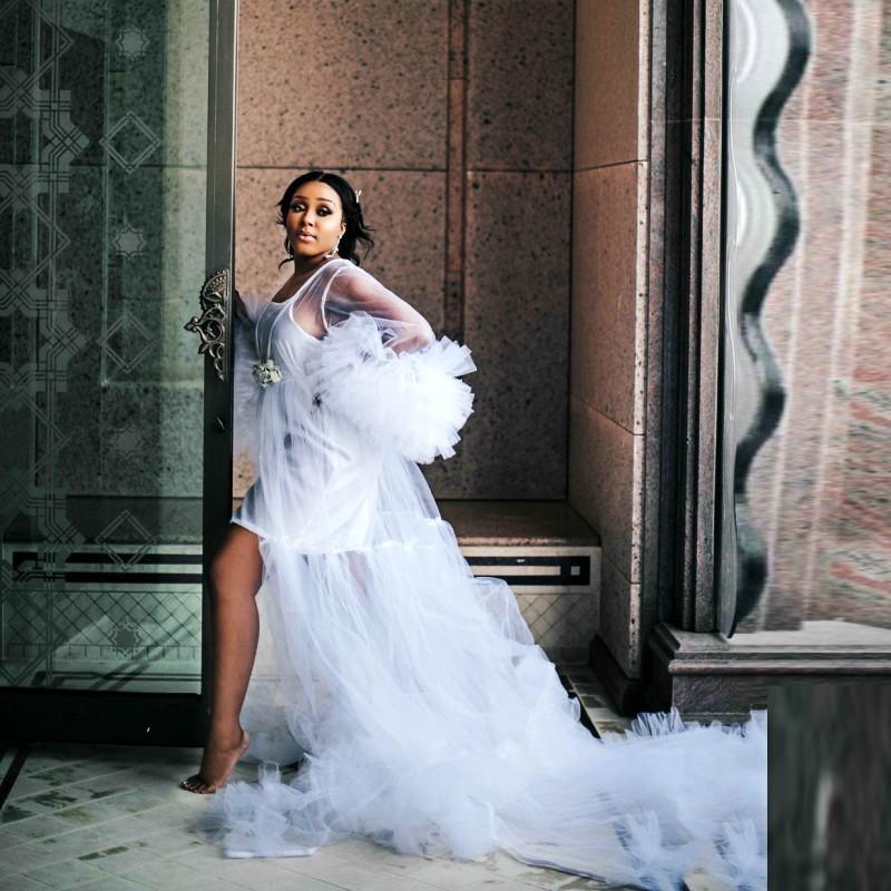 mantón de la boda de las mujeres abrigos noche nupcial del vestido de manga larga para Nupcial Chales Capas Ilusión Capa de maternidad Vestidos Photoshoot Shows bau