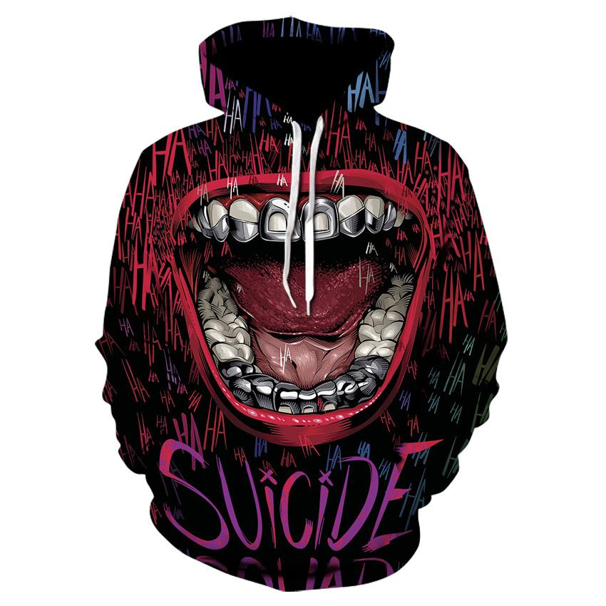 2020 Hooded Harajuku Coat Coat Joker Haha Pullover Impreso Hombres / Mujeres Hoodies Moda Black Hoodie Marca Divertida 3D Abknv