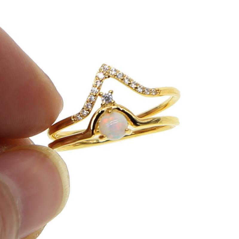 Gold gefüllt engagment 2pc Ringsatz CZ gepflastert V-Form Feueropal winziger dünnen Ehering 2020 neue Ankunft Valentinstag Geschenk