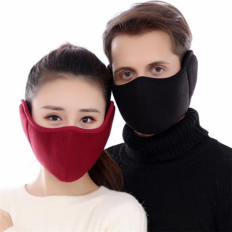 Kış Earmuffs Yüz Pamuk Masque PM2.5 Unisex Erkekler ve Kadınlar Açık Bisiklet Soğuk Koruma Anti Toz Kulak Maskesi FY9269 Maske Ilık