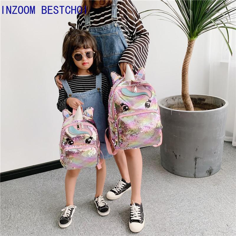 Unicorn Sequins Children's Kids School Bags for Teenage Girls Backpack Cartoon Cute Backpacks Large Mochila Infantil Q1113
