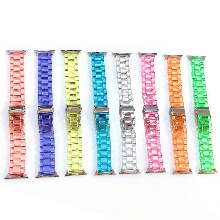 Bracelet en boucle de remplacement de boucle de cristal transparent en acrylique Bracelet pour Apple Iwatch 38 / 40mm 42 / 44mm