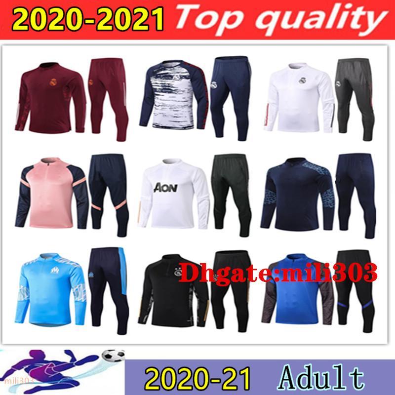 2020 2021 Gerçek Madrid Futbol Eşofman Survetement 20 21 Marsilya Futbol Ceket Eğitim Takım Elbise Ayak Chandal Futbol Koşu Seti