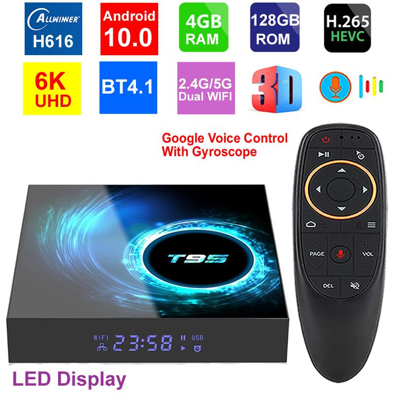 T95 6k Smart TV Box Android 10.0 4GB 128GB Allwinner H616 Quad Core 5G двойной Wi-Fi HDR H.265 BT4.1 6K Media Player Player Настройка