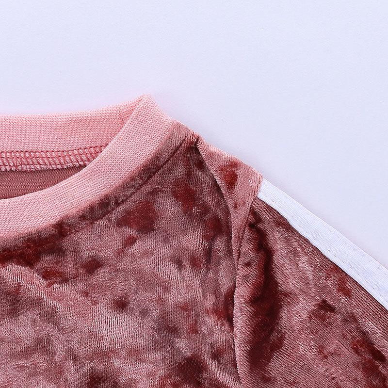 Золотой бархатный малыш девушка одежда набор весна осенняя одежда для девочек с длинным рукавом топы и брюки 2 шт. Мода детские комплекты одежды 201126