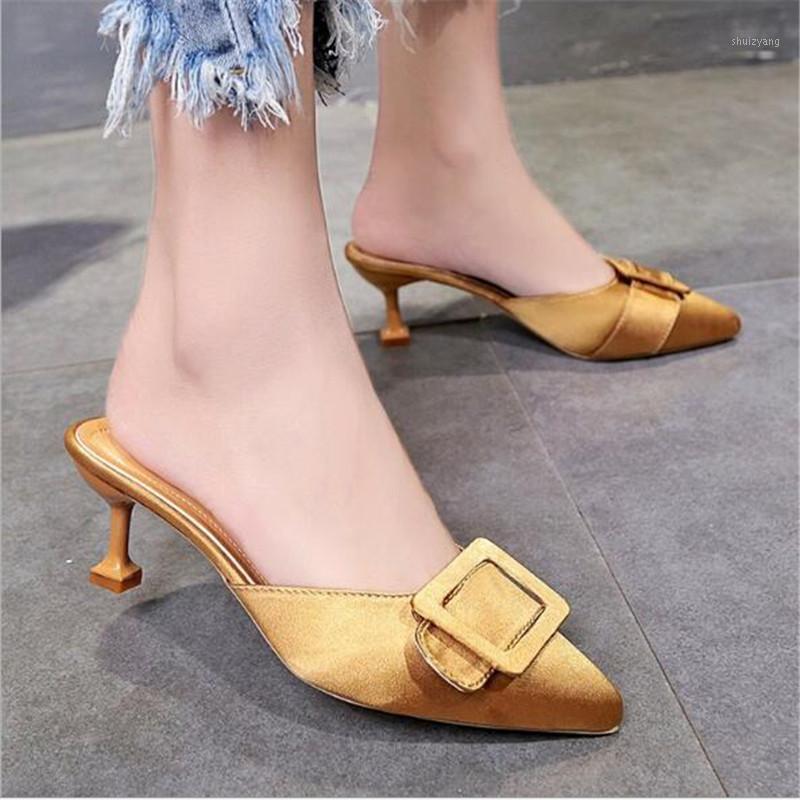 الربيع / الصيف 2021 جديد المرأة أحذية عالية الكعب نصف النعال مع الحرير الساتان أشار حزام مشبك النعال أحذية امرأة 1