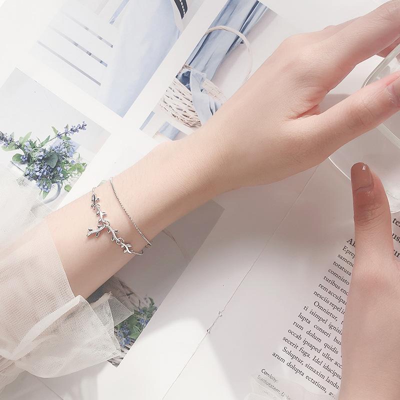 S925 Silver Mori simples Lady Poder Bracelet Moda Double-Layer luz deixa Bead Mão Jóias S3524
