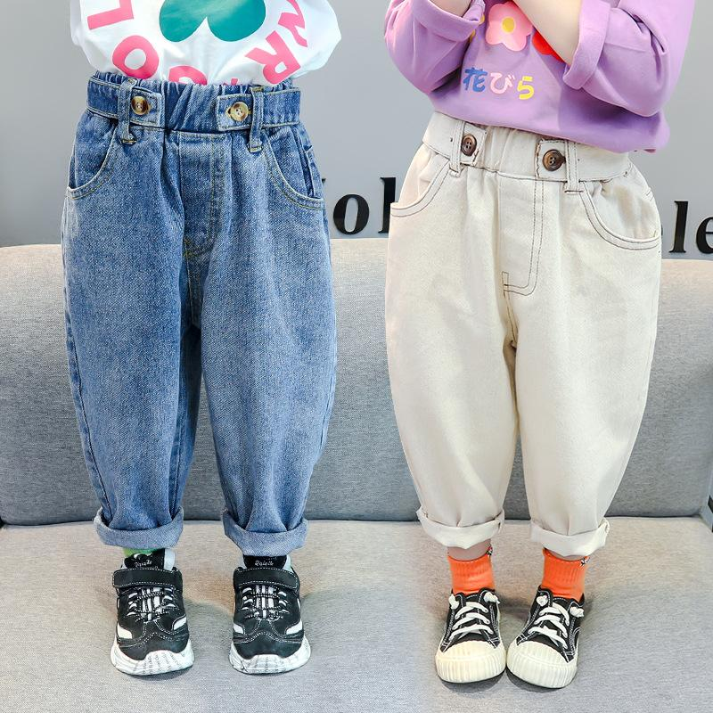 INS Spring Autumn Kids Trousers Unisex Denim All Matched Casual Harem Buttons Fly Toddler Boys Girls Pants 1-6 Years