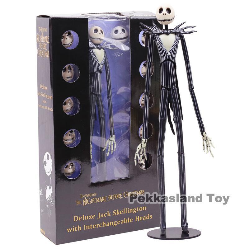 Skellington Jack Deluxe NightMARE Noel Ile Değiştirilebilir Kafaları Action Figure Koleksiyon Model Oyuncak Hediye 35 cm