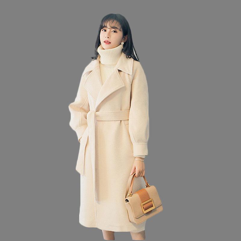 Mulher feminina mistura mulheres 2021 outono jaqueta de inverno capa casaco longo duplo peito com cinto outwear feminino is1077