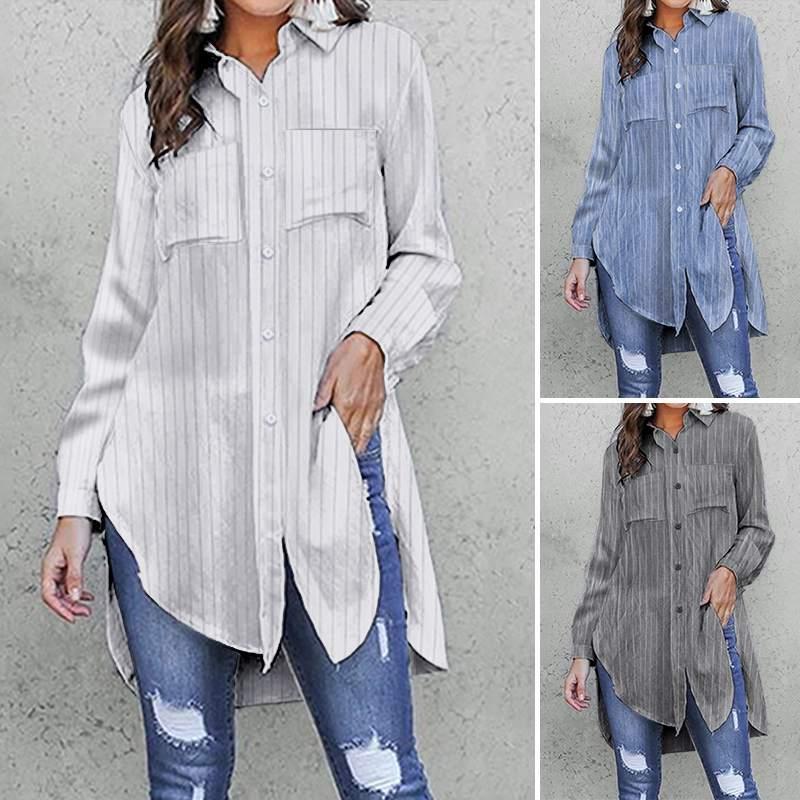 Женские блузки рубашки Элегантный 2021 Celmia с длинным рукавом Винтаж полосатый модные ослабесы карманы вечеринки топы женские повседневные блуз