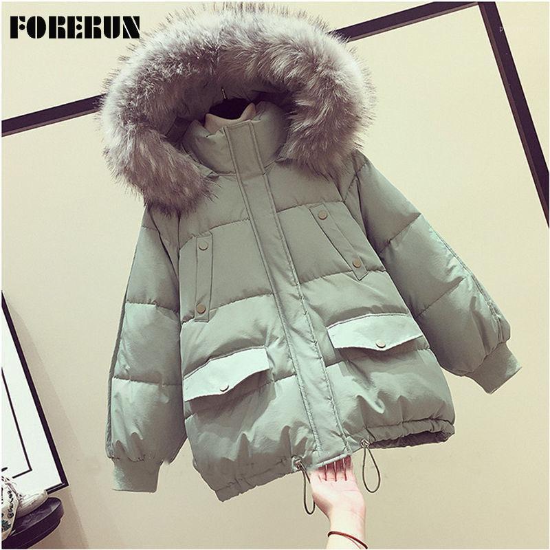 Forerun veste femmes hiver hiver coton rembourré battween manchon grande fourrure double poches à capuche décontractée Parka1
