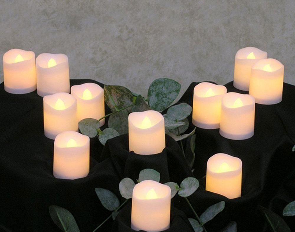 12 adet Alevsiz LED Mum Titreme Işık Lambası Dekorasyon Elektrikli Pil-Güçlü Mumlar Sarı Çay Işık PA SQCEWG HOMES2007