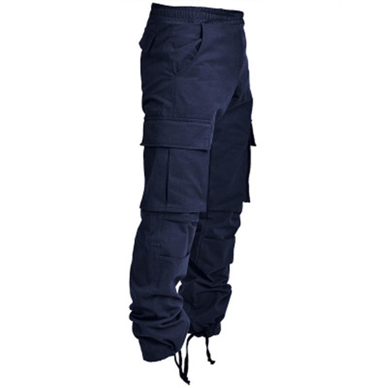 Erkek Açık Kargo Sweatpants Moda Oluk Trend Ayak Ağız İpli Uzun Pantolon Bahar Erkek Yeni Birden Çok Cepler Rahat Gevşek Pantolon