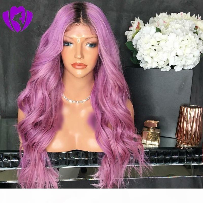 dunkle wurzeln ombre gemischte lila synthetische spitze frontperücke handgebunden lange körperwelle wärmebeständige haar synthetische Perücken für Frauen