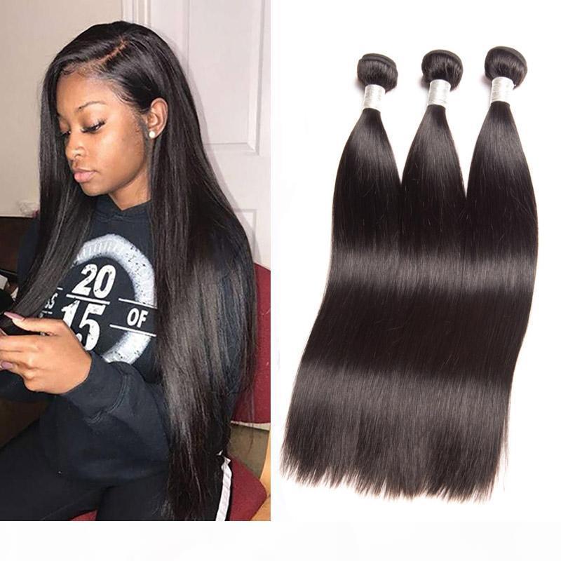 Pérou Silky Extensions cheveux raides Human 3 Bundles Virgin cheveux Trames droit 3 Pièces lot Noir Naturel