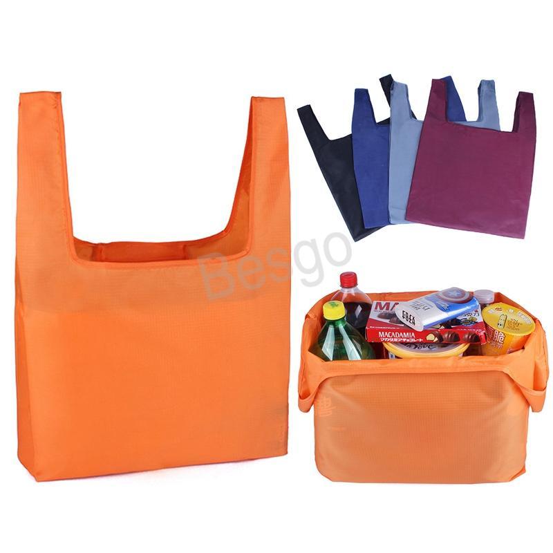 Kıvrım Alışveriş Bez Çanta Katlanabilir Yeniden kullanılabilir Alışveriş Çantaları Çevre dostu Katı Renkler Depolama Bakkal Çanta Büyük Depolama Kılıfı BH3814 TQQ