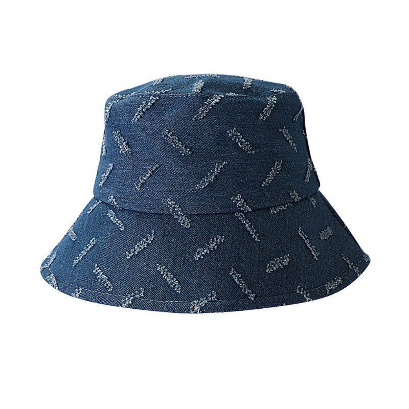Szeroki Brim Kapelusze Kobiety Lato Vintage Denim Wiadro Kapelusz Dressed Scar Paski Wzór Słońce Ochrona Zewnątrz Fisherman Cap