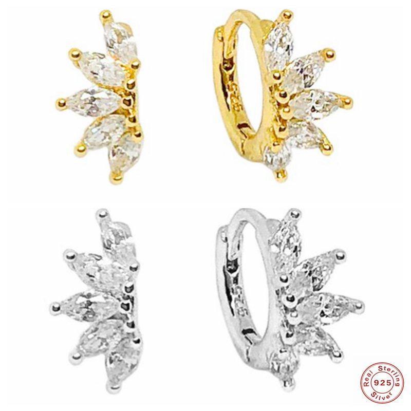 Real 925 Pendientes de plata esterlina Ojo de caballo Zircon Hoop Pendiente para mujer Señoras Chicas Cartílago Pendientes Accesorios de joyería