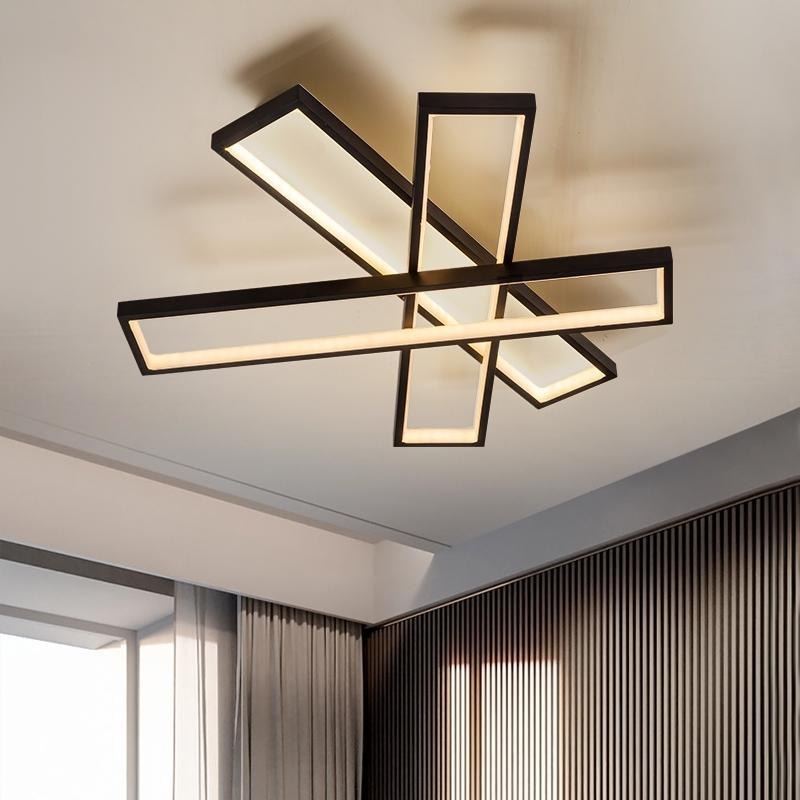 2021 NOUVEAU Éclairage moderne conducté de la lampe de plafond montée rectangle noir à la décoration de la salle de conception vivante pour la maison électrique XW7X