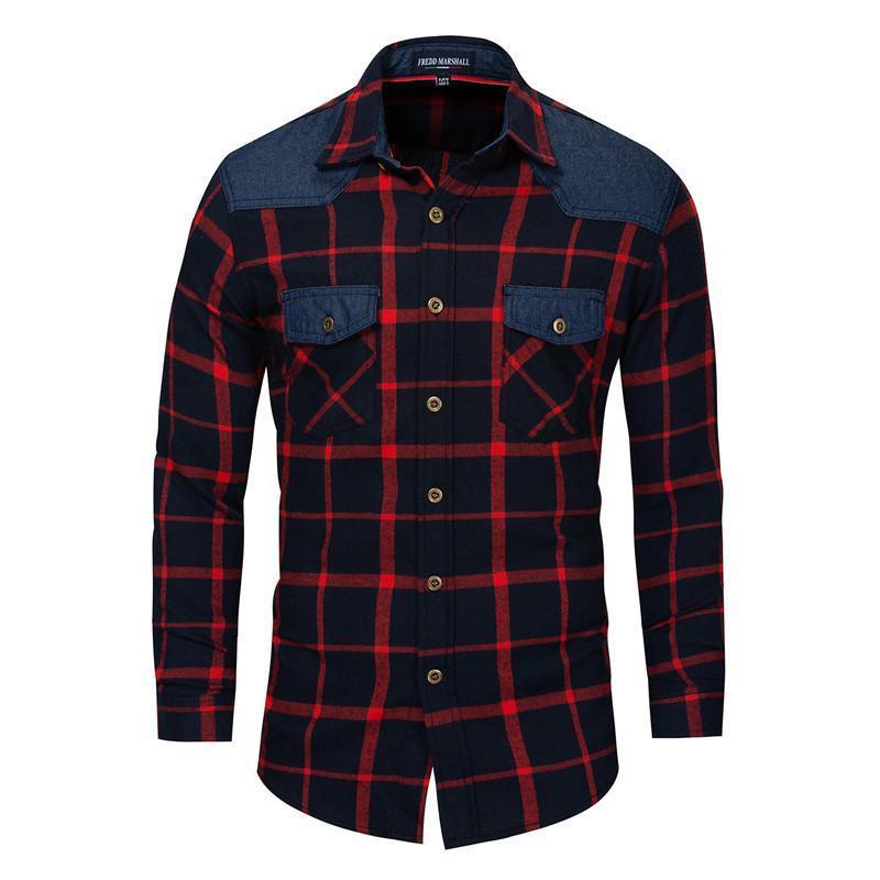 Männer Casual Hemden Mode Hemd Männer Plaid Cotton Slim Fit Rot Khaki 2021 Frühling langarm Stil Mann Kleidung EU Größe