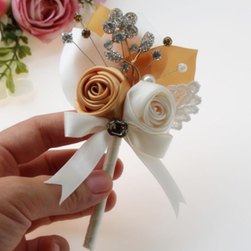 benutzerdefinierte 4 Stücke / Los Hochzeit Trauzeuge ansteckblume mit Elfenbein blush Brautbrautjunfern Stift HandgelenkCorsage Hochzeitsdekoration