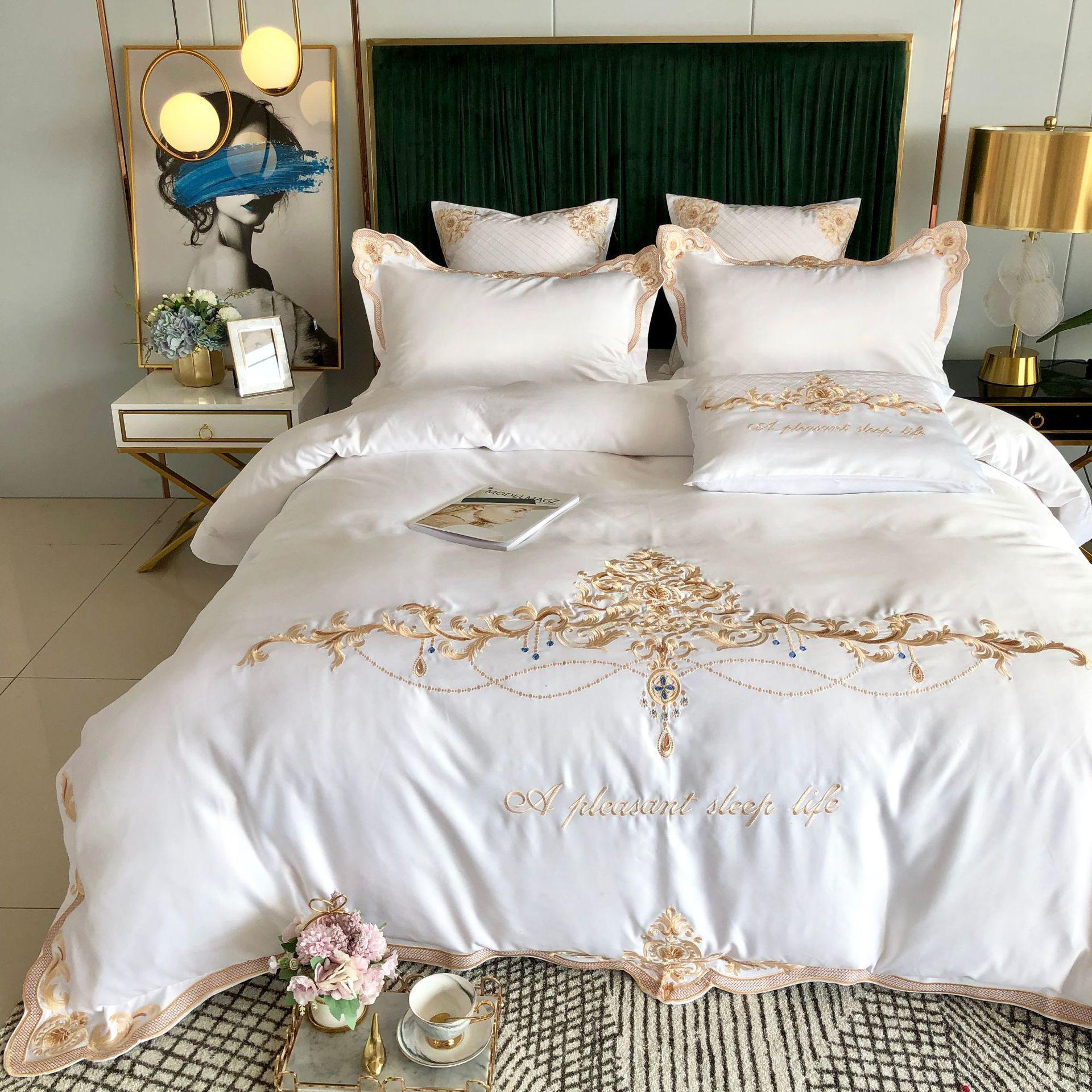 60s Washed Silk with Cotton Bedding Set King and Queen Bedding Set Royal Embroidery Duvet Cover Set 4pcs