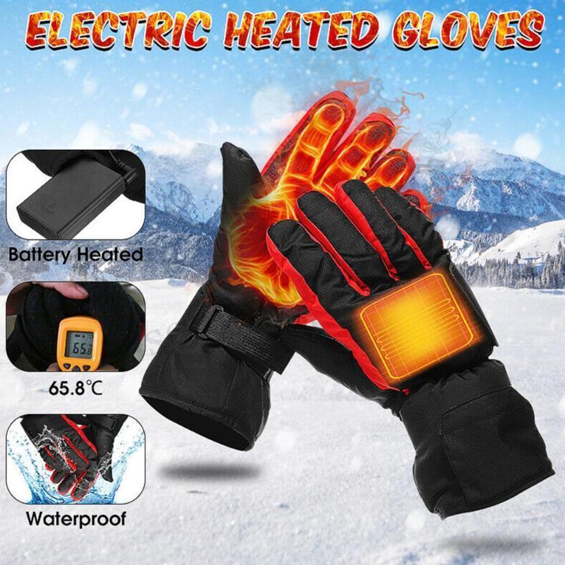 Skihandschuhe 1 Paar Batteriekohlefaserheizung Batteriebox Elektrische Hand Warme Winter Motorrad beheizt