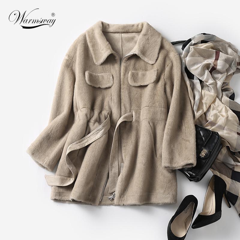 Chaqueta Otoño Invierno Faux capa de las mujeres 2020 de lujo ocasionales de mitad de longitud de gran tamaño de piel Mujer caliente grueso felpa Outwear C-213