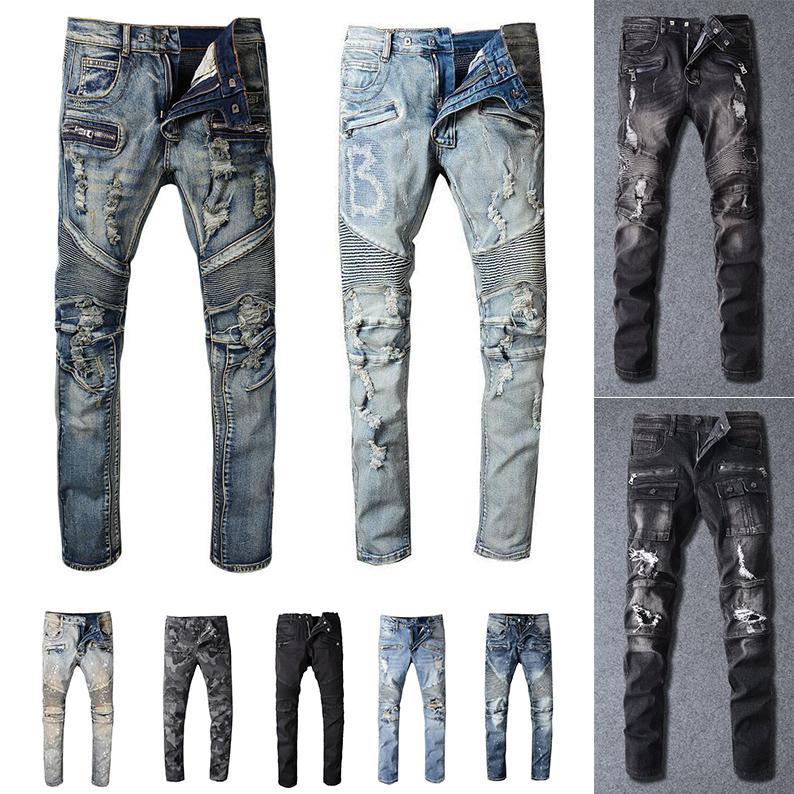 2020 New Mens Distressed strappato Biker Mens Jeans slim fit Motociclista Denim per gli uomini S Black Fashion 19ss pour hommes