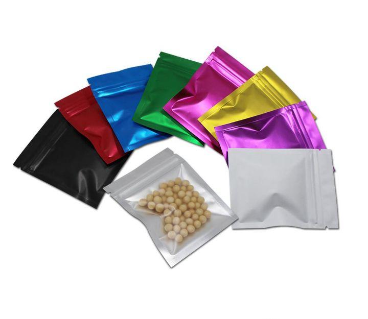 8.5x13cm mate púrpura mylar bolso de lámina con cremallera Bloqueo de envases Paquetes de envases para productos de hornear bolsas de almacenamiento de alimentos con cremallera de aluminio
