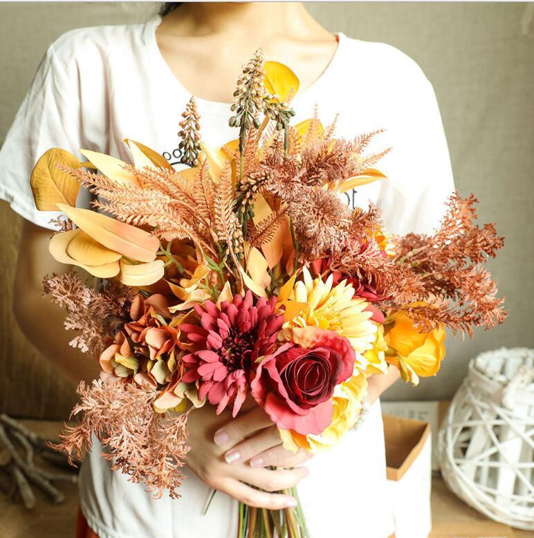 الديكور الخريف الزهور مصنع محاكاة الزهور، الزهور الاصطناعية، النباتات الخضراء، غرفة المعيشة الزفاف، غرفة الطعام، زهرة ترتيب