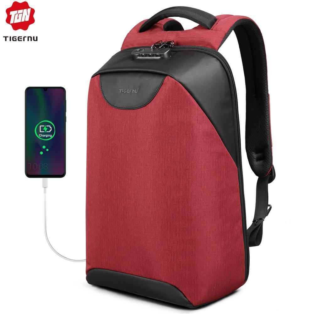 Tigernu Women Anti Theft TSA Lock female Laptop Backpack USB Charge School Bag for Teenager girls Feminine Backpacks luggage Bag 201009