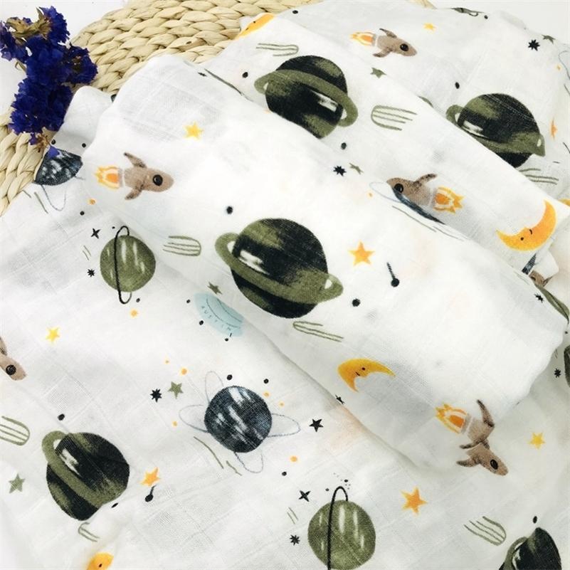 Espaço 100% Bambu Fibra Muslin Cobertor Impressão Floral Bebê Cama de Banho Toalhas de Banho Cobertor Recém-nascido Cobertor para Bebês Swaddle Enrole 201111