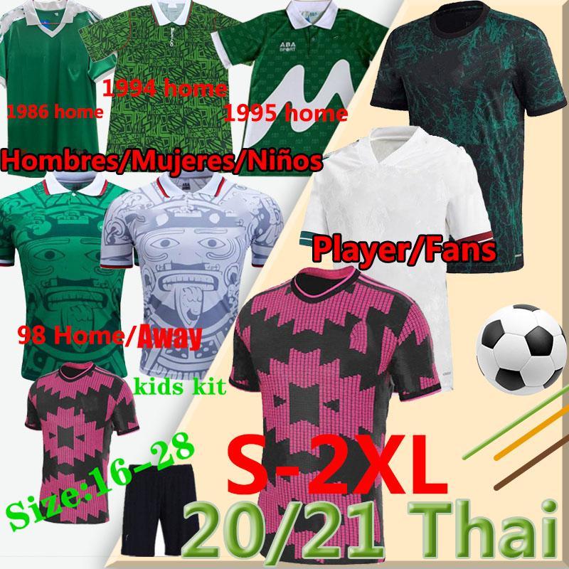 2020 2021 Messico Player Player Player Fans Chicharito Camisetas Chándal de Fútbol Retro 1986 94 95 98 Casa Away Aways Men Kidskit Camicie da calcio