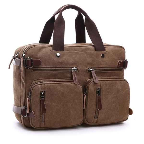 Scione Men Canvas Bag Leather Briefcase Travel Suitcase Messenger Shoulder Tote Back Handbag Large Casual Business Laptop Pocket Q1104