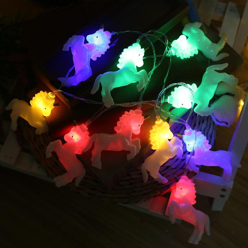 유니콘 모델링 조명 문자열 LED 조랑말 스타일 장식 램프 축제 배터리 상자 장식 문자열 빛 뜨거운 판매 10HT L1